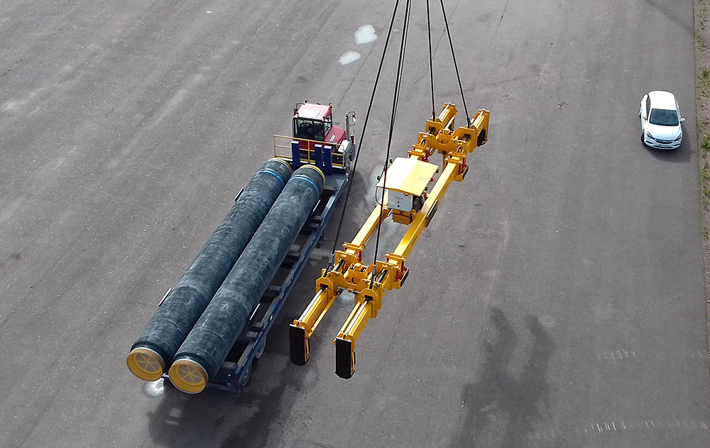 Rinker Materials Concrete Pipe Handling : Lifting solution coated pipes concrete